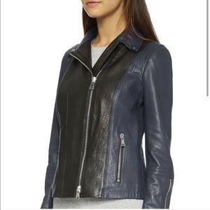 Vince navy blue and black leather jacket